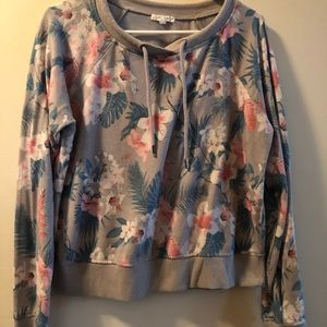 Cropped floral sweatshirt